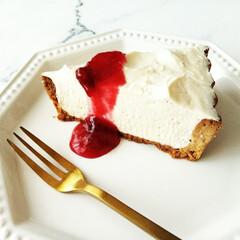 皿/チーズケーキ/雑貨だいすき ひとつ前に載せたレアチーズタルトの断面で…(1枚目)