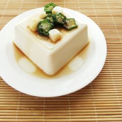冷奴/豆腐/副菜/おくら/長芋/うちの定番料理 濃厚な風味の冷奴に小口切りのオクラ・角切…