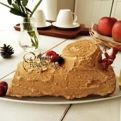 クリスマス/紅茶/ブッシュドノエル 娘からずっとブッシュドノエルを食べたいと…