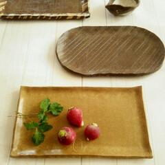 オーブン陶芸/皿/長皿 オーブン陶芸で作った、3枚の長皿です。 …