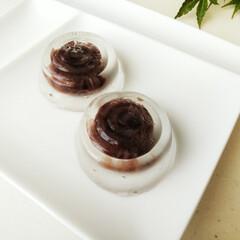 KaiHouse SELECT 和菓子のシリコン型 DL7504 | 貝印(和菓子製菓用品)を使ったクチコミ「アガーで固めた透明なゼリーの中に、あんこ…」