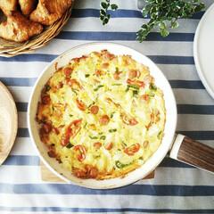 うちの定番料理/スパニッシュオムレツ/じゃがいも/フライパン/オーブン焼き スペイン風オムレツ。 このフライパンは、…