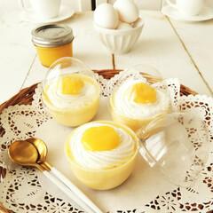 プリン/卵/わたしの手作り おやつに、爽やかな風味のチーズプリンを作…