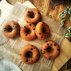 コーヒー/チョコチップ/焼きドーナツ 気に入っているコーヒーケーキの生地に、コ…