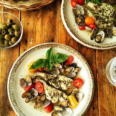 アクアパッツァ/ミニトマト/たら/あさり タラ・あさり・庭のミニトマトで作ったアク…