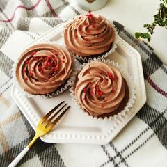 カップケーキ/ココア/クリーム ココアクリームを乗せたココアカップケーキ…