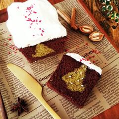 バターケーキ/ツリー/クリスマス2019 ひとつ前に載せたかくれんぼケーキにクリー…