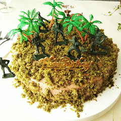 ケーキ/ピック/雑貨だいすき/サバゲー 夫の誕生日に、サバゲーをテーマにしたケー…
