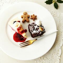 おやつ/デザートプレート/アイスケーキ/リミアな暮らし 今日のおやつは、ココアケーキ、アイスケー…(1枚目)