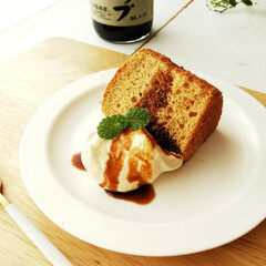 黒糖/シロップ/シフォンケーキ/おやつ 黒糖シロップを混ぜ込んでシフォンケーキを…