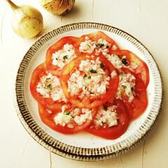 サラ玉/ドレッシング/トマト/春のフォト投稿キャンペーン/わたしのごはん 最近ハマった冷やしトマト。 ドレッシング…