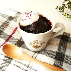 レンジ/マグカップケーキ/チョコレートケーキ レンジで加熱する、チョコレート味のマグカ…