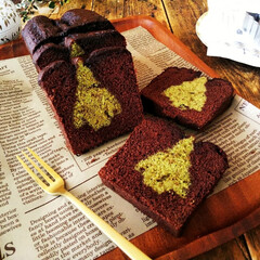バターケーキ/ツリー/クリスマス2019 抹茶のバターケーキをツリー型で抜いたもの…