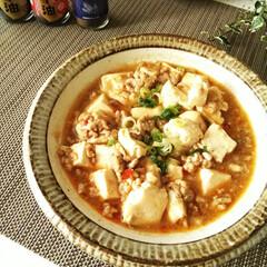 麻婆豆腐/花椒/グルメ 素がなくても、挽き肉を炒めて、合わせた調…