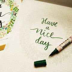 カリグラフィー/英語/緑色 ひとつ前に載せたカリグラフィー用のペンを…