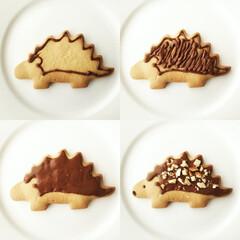 ハリネズミ/クッキー/作り方 ハリネズミクッキーの簡単デコレーション。…