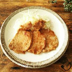 美濃焼/生姜焼き/皿 子供のリクエストで、夕食に生姜焼きを作り…