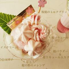 桜/パフェ/春の一枚 ひとつ前に載せた、桜パフェを上から見た図…