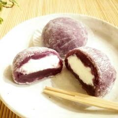 紫芋パウダー/クリーム大福/白あん 求肥と白あんに紫芋パウダーを混ぜ込んで作…
