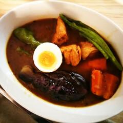 カレー/スープカレー/バジル/オレガノ 今夜は夏野菜のスープカレー。 バジルやオ…