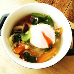 野菜スープ/温泉卵/令和元年フォト投稿キャンペーン オイシックスさんのキットを使って作ってみ…