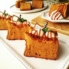 シフォンケーキ/シフォンサンド/はらぺこグルメ キャラメル味のシフォンケーキにクリームを…