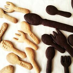 型抜きクッキー/スプーン形/クッキースタンプ プレーン&ココア味の型抜きクッキー生地を…