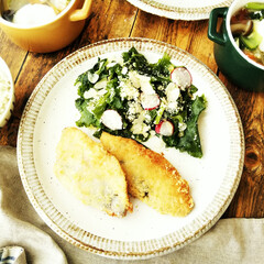 サーモン/サラダ/フライ/令和元年フォト投稿キャンペーン キットを使った簡単お昼御飯。 中でもケー…