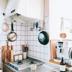 ワンルームインテリア/ワンルーム/一人暮らしインテリア/タイルシール/壁紙/レイアウト/... キッチンの壁紙を模様替えしました。以前の…