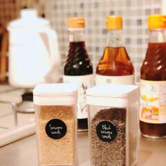調味料収納/調味料入れ/新生活/キッチン収納/limiaキッチン同好会 ごまの容器入れ替えてます