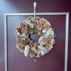 ワンルームインテリア/ワンルーム/一人暮らしインテリア/玄関飾り/クリスマスリース/クリスマスデコレーション/... 今年も玄関にリースを飾ったよ🎄まつぼっく…