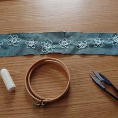 刺繍ワンピース/刺繍/金糸梅/ヒペリカム/150cmコーデ/ファッション/... サマーダンガリー生地に手刺繍して縫ったワ…(6枚目)