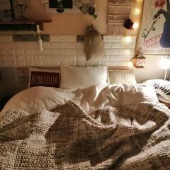 寝室インテリア/ホテルライクインテリア/ホテルスタイル枕/ニトリマルチカバー/fab the home/ベッドカバー/... Room clipモニター当選後の   …