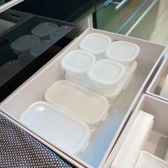 iwaki イワキ パック&レンジ システムセット ピンク PSC-PRN-P7(食品保存容器)を使ったクチコミ「タッパー収納✨  イワキの保存容器7点セ…」