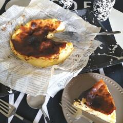 クチポール 単品 デザート スプーン GOA シルバー×ブラック GO.08 | クチポール(フォーク)を使ったクチコミ「.。*♡バスクチーズケーキ♡*。.  冷…」