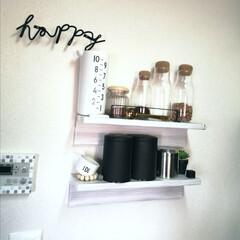 カルディオリジナル キャニスター缶 ブラック 1個(その他コーヒー、ティーカップ)を使ったクチコミ「.。*♡壁に付けられる家具♡*。.  紅…」