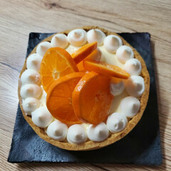 手作りお菓子 義父の誕生日ケーキ。 レアチーズタルト。…(1枚目)