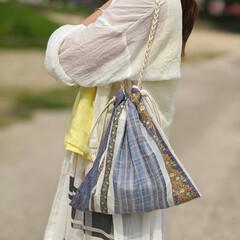 バッグ/エスニック/ハンドメイド/おしゃれ/夏ファッション ショルダーひもはみつ編みしてみた♡