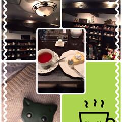 ステイホーム🏠/コロナ退散/紅茶専門店/コロナで閉店/皮の猫ちゃんのブローチ 私の大好きな隠れ家的な紅茶のお店コロナウ…