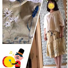 ファッション/刺繍したスカート 久々にスカート単独ではいてみました❣️生…