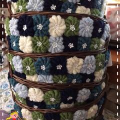 ハンドメイド/コロナ退散/ステイホーム🏠/キープディスタンス/コイル編みの籠🧺完成❣️/100均 お陰様でブチ小花レース全部のコイル編みに…