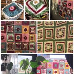 モチーフ編み/日干し お気に入りのモチーフ編み大きいサイズの物…