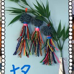 七夕飾りを作った 中々、山火事消えませんね❣️ 地震、雷⚡…(1枚目)