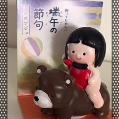 百均/端午の節句熊に跨る金太郎人形/Seria seriaで熊にまたがる金太郎さんを見つ…(1枚目)