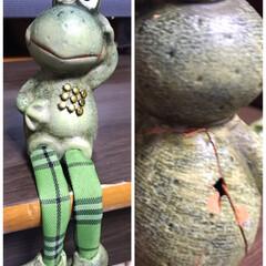 手芸ポンドの神業/割れたカエル🐸復活 昨日、梅雨コーナーに飾っていた脚ブラ人形…(2枚目)