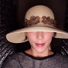 帽子リメイク 2個目に作った帽子被って買い物してきます…