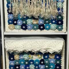 夏用ストール/コイル編み/カラーボックスカゴ カラーボックスカゴに毛糸の🧶コイル編み貼…
