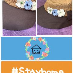 命を守るステイホーム🏠/小花モチーフ🌼/ハンドメイド/帽子 モチーフ編んで帽子に付けました❣️ 可愛…