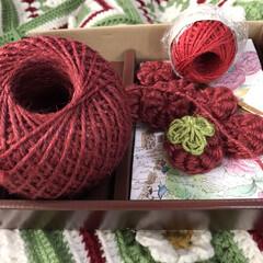 渋い赤でコイル編み苺🍓編む 久々に新しいえんじ色ぽい麻糸でコイル編み…(1枚目)