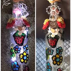 空き瓶で作ったライト 今日は雨です🌧 懐かしいもの取り出して灯…(1枚目)